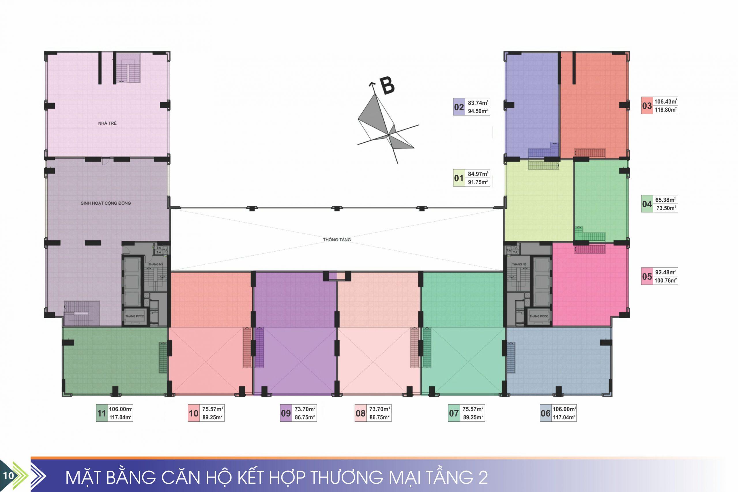 mb căn hộ thương mại tầng 2